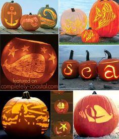 Hello Jack O Lanterns... Ready for a Coastal Autumn Celebration (and Halloween): ttp://www.completely-coastal.com/2014/09/coastal-autumn-nautical-pumpkins.html