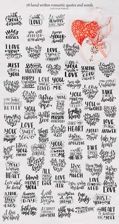 Quotes about love-Lettering Pack.I present to you a Quotes about love.Lettering set includes traditional romantic quotes and words. Calligraphy Quotes Doodles, Doodle Quotes, Calligraphy Handwriting, Hand Lettering Quotes, Handwriting Ideas, Calligraphy Letters, Valentines Lettering, Hand Drawn Lettering, Lettering Styles