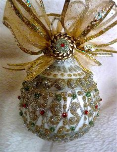 Fancy Hand Painted Glass Ornament by KARCREATIONS on Etsy, $30.00