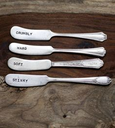 Vintage Stamped Cheese Spreader Knives.