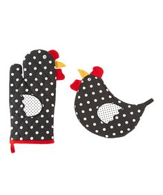 This Polka Dot Home to Roost Pot Holder & Oven Mitt is perfect! #zulilyfinds