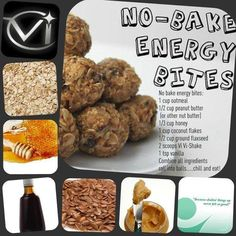 No Bake Energy Bites - ViSalus Shake Recipes ~ I have leftover protein powder I could use for these