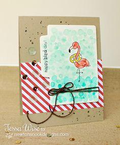 Watercolor fun with Tessa Wise | Flirty Flamingos Stamp set |  Newton's Nook Designs