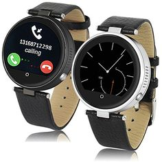 Indigi H365 Round Metal Case Crystal Touch Screen Bluetooth Smart Watch Heart Rate SIRI For All iPhone iOS  Android Smartphones * Learn more by visiting the image link.