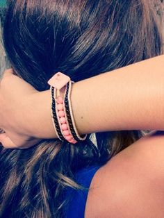 boho leather wrap handmade bracelet #boho #handmade #leather #wrap #beads #FIMO #button #pink #black