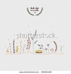 Herbal and wooden elements in the rustic style. Natural elements: leaves, flowers, herbs, wood saw cut can be used as decorative ornaments of your layout, wedding invitations, logo for eco company.