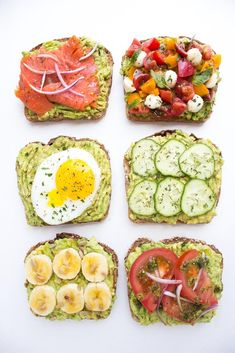 Easy and quick ways to top an avocado toast all with fresh ingredients for breakfast, lunch, or dinner! Easy and quick ways to top an avocado toast all with fresh ingredients for breakfast, lunch, or dinner! Healthy Recipes, Healthy Snacks, Healthy Eating, Cooking Recipes, Seafood Recipes, Clean Eating, Simple Healthy Breakfast Recipes, Recipes With Avocado, Easy Recipes