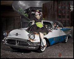 Zombie Car Hop Costume Retro 50s Waitress Dress Apron and Hat Halloween