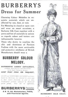 ๑ Nineteen Fourteen ๑ historical happenings, fashion, art & style from a century ago - 1914 Burberry's summer silk coat ad.