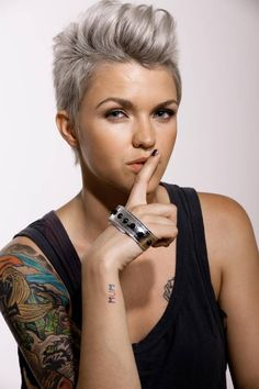Ruby Rose silver hair.