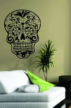 Sugar Skull Decal Sticker Wall Vinyl Day of the Dead by BoopDecals