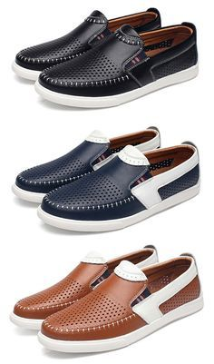 Men Stitching Color Blocking Hole Breathable Flat Slip On Leather Loafers If you love fashion check us out. We're always adding new products for your closet! Casual Leather Shoes, Casual Sneakers, Leather Loafers, Loafers Men, Casual Shoes, Loafer Shoes, Men's Shoes, Shoe Boots, Mens Fashion Shoes