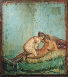 Sex in Pompeii (by CFCF) This Roman fresco shows the act of making love. It was found in the bedroom (cubiculum) of the Casa del Centenario (IX in Pompeii . Ancient Pompeii, Pompeii And Herculaneum, Ancient Art, Ancient History, Pompeii Italy, Rome Antique, Art Antique, Roman History, Art History