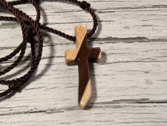Wood Cross Necklace in Maple & Walnut Hardwoods by TheLotusShop, $16.95