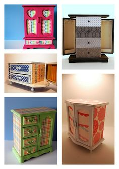 Refurbished vintage jewelry boxes, I want to find a cute one and make it look like a barbie dresser for Rhianna