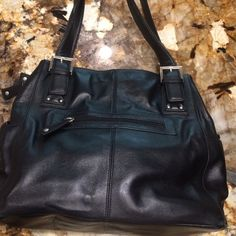 Audrey Brooke handbag, large leather black Three large compartments, one zippered and the other two are magnetic snaps, 14 inches long, 8 inches wide, and 14 inches high, strap drop is 12 inches high, there are lots of compartments to organize your stuff, perfect condition Audrey Brooke Bags Satchels