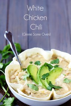 "White Chicken Chili served in tortilla bowls - A delicious, easy and ""lighter"" take on classic White Chicken Chili."