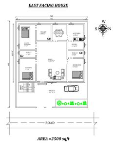 Fully furnished East Facing House Plan As Per Vasthu Shastra. 2bhk House Plan, Three Bedroom House Plan, Duplex House Plans, House Layout Plans, Luxury House Plans, New House Plans, Modern House Plans, Luxury Houses, Dream Houses