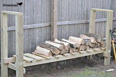 project, idea, diy yard decoration, diy firewood holder, logs, outdoor, log holder, diy log, garden