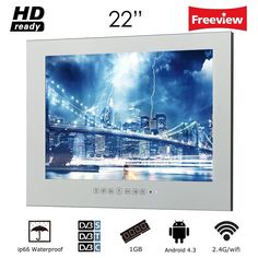 Soulaca 22 inch Frameless Smart Waterproof Magic Mirror Bathroom TV M220FA 22 Inch Tv, Tv In Bathroom, Magic Mirror, Tv Reviews, Garage Design, Most Visited, Tvs, Wall Mount, Tv