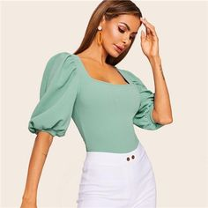 SHEIN Turquoise Puff Sleeve Solid Fitted Square Neck Tee T Shirt Women Summer 2019 Half Sleeve Elegant Workwear T-shirt Tops Women's Summer Fashion, Look Fashion, Fashion Outfits, Beachwear For Women, Women Swimsuits, Halter Tops, Summer Dress Outfits, Half Sleeves, Stylish Outfits