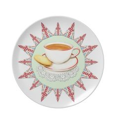 Cup of Tea and Bunting Party Plate by Patricia Shea Designs