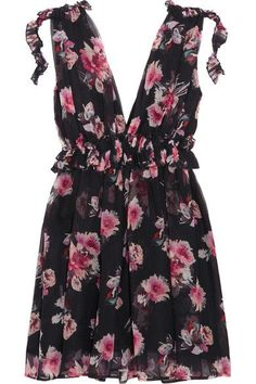 MSGM - Ruffled Floral-print Silk-chiffon Mini Dress - Black - IT38