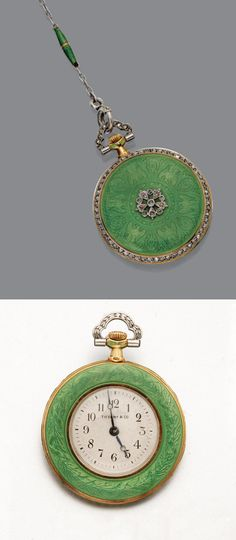 PLATINUM GOLD, ENAMEL AND DIAMOND PENDANT-WATCH, TIFFANY & CO., HUSSON WORKSHOP, CIRCA 1910. The case decorated with bright green basse-taille enamel over a pattern of eagles and laurel wreathes, surmounted by a diamond-set rosette, the case rim set with rose-cut diamonds, reversing to a matte cream dial with black Arabic numerals, rose-cut diamond pendant loop, dial signed Tiffany & Co., circa 1910