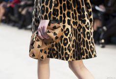 heart clutch + leopard coat = fab! #nyfw #burberry