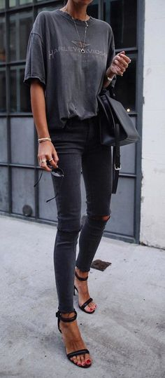 #fall #outfits  women's black Harley Davidson crew-neck t-shirt, distressed black jeans, and pair of black open toe platform heeled sandals #jeansandtshirt #heeledsandalsoutfitjeans