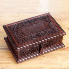 NOVICA Peruvian Colonial Hand Tooled Brown Leather Jewelry Box ($180) ❤ liked on Polyvore featuring home, home decor, jewelry storage, brown, clothing & accessories, jewelry boxes, handmade home decor, leather jewellery box, leather jewelry box and brown jewelry box