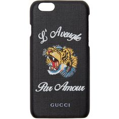Gucci Black LAveugle Par Amour iPhone 6 Case (970 SAR) ❤ liked on Polyvore featuring accessories, tech accessories, black and gucci