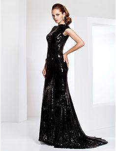 Formal Evening/Military Ball Dress - Black Plus Sizes Trumpet/Mermaid Bateau Sweep/Brush Train Sequined – USD $ 99.99