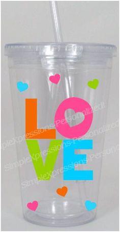 LOVE Valentines Tumbler on Etsy, $12.00