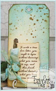 Tammy Tutterow | True Love Tag featuring stamps and inks by Tim Holtz