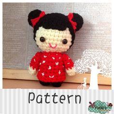 Crochet pattern doll: Oriental Hair Bun Girl Doll by Yunies #crochet #amigurumi