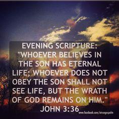 Evening Scripture: Whoever believes in the Son has eternal life... #eveningscripture #scripturequote #biblequote #instabible #quote #devotion #seekgod #godsword #godislove #gospel #jesussaves #lhbk #youthministry #teamjesus #moms #teens #grandmas #eternallife #wrath #obey #trust #testify #preach #pray #praise #faith #believethegospel