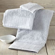 Organic Pleated Edge Towels - Ozone Blue | west elm