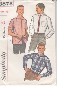 1960's Sewing Pattern - Simplicity 3875 Mens Shirt Size 36 Uncut, Factory Folded