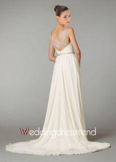 Cheap Column Draped Beaded Spaghetti Straps Chiffon Wedding Dress - Beautiful Wedding Dresses Online Wholesaler and Retailer
