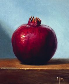 Still Life with Pomegranate & Blue Background. Abbey Ryan