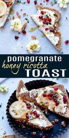 Breakfast Recipes Light & Easy Ricotta Toast topped with pomegranate arils, fresh thyme, candied pecans and honey. The perfect quick sweet savory breakfast or appetizer recipe for the holidays! Breakfast Toast, Savory Breakfast, Sweet Breakfast, Quick Appetizers, Holiday Appetizers, Appetizer Recipes, Yummy Recipes, Ricotta, Quick Healthy Breakfast