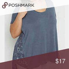 Plus Lace Accent Swing Tee Pretty lace side inset detail + the softness of your favorite broke in TShirt   Lovely blue  95% Rayon 5% Spandex     D21 Tops Tees - Short Sleeve