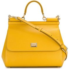 Dolce & Gabbana Sicily tote ($1,856) ❤ liked on Polyvore featuring bags, handbags, tote bags, leather purse, leather totes, genuine leather tote, yellow leather handbags and tote purses