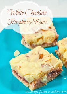 White Chocolate Raspberry Bars - you can taste the sweet white chocolate throughout this melt-in-your mouth raspeberry dessert bar. Raspberry Bars, Raspberry Recipes, Raspberry Filling, White Chocolate Desserts, White Chocolate Raspberry, Chocolate Chips, Baking Recipes, Cookie Recipes, Dessert Recipes