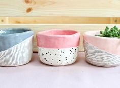 ceramic planters Grey striped Pink spotty Pink striped Available on E. -Handmade ceramic planters Grey striped Pink spotty Pink striped Available on E. Ceramic Planters, Ceramic Cups, Ceramic Pottery, Ceramic Art, Painted Pottery, Slab Pottery, Hand Painted Ceramics, Pottery Painting Designs, Pottery Designs