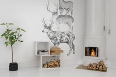 """This fun illustration presents us with three deers covered in different patterns, the formation they are standing in is inspired by the Brothers Grimm saga """"Town Musicians of Bremen"""". Kids Wall Murals, Murals For Kids, Fun Illustration, Wallpaper Online, Different Patterns, Designer Wallpaper, Betta, Wall Decor, Identity"""