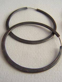 amazing handmade copper jewelry / blackened copper hoops with...