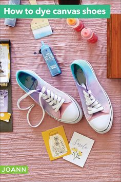 Make the gradient on your sneaks by squirting different shades across the canvas. Now they're ready to step out for fun!