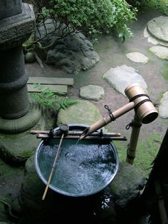 Compact water features, small-space landscaping, garden inspiration, and of course all things relating to container water gardening, patio ponds and much more. Japanese Bamboo, Japanese House, Japanese Bath, Japanese Gardens, Koi Pond Design, Garden Design, Japanese Water Feature, Bamboo Water Fountain, Japan Garden